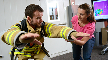 Firefighter in lab testing