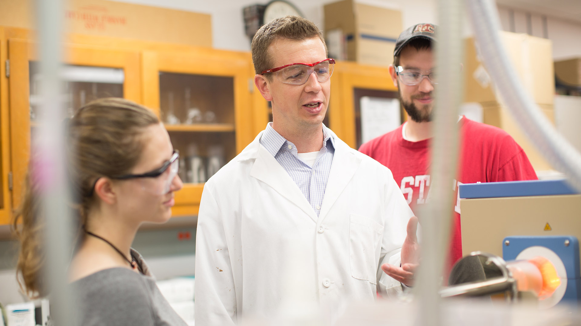 Philip Bradford in his carbon nanotube lab with students from his research group