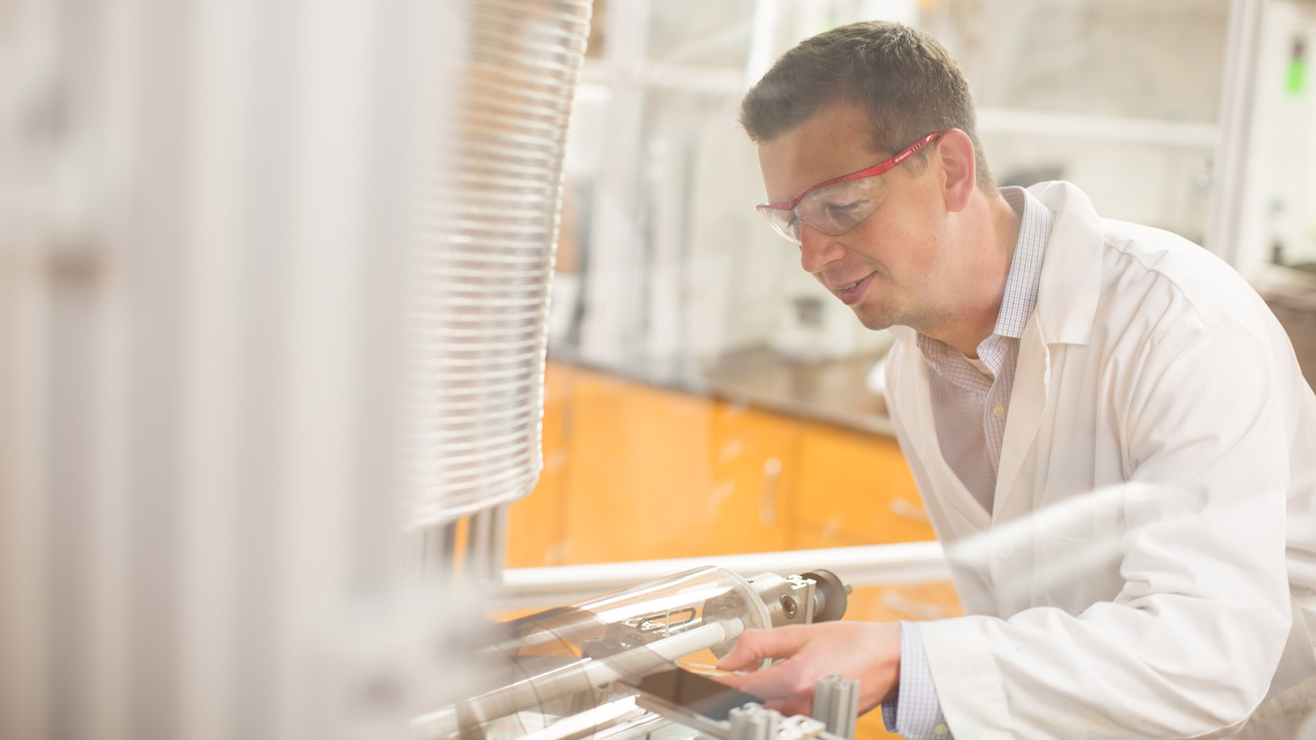 Philip Bradford researching carbon nanotubes in his lab