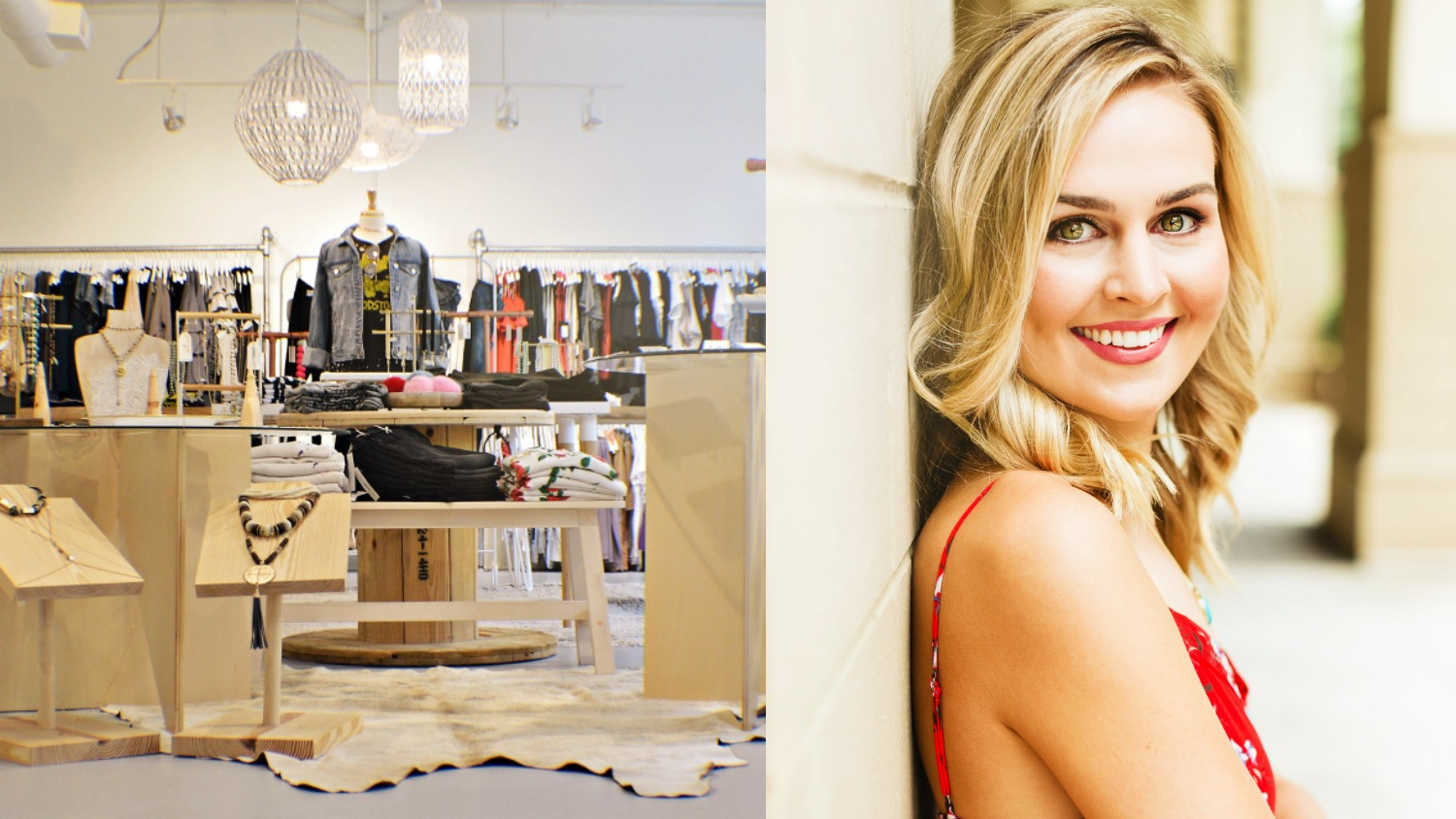 Portrait of NC State College of Textiles alumna Kayla Brewer and her women's clothing store, Voda