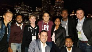 Wilson College of Textiles student Gurjot Baweja stands with group of new friends from the Forbes Under 30 Summit