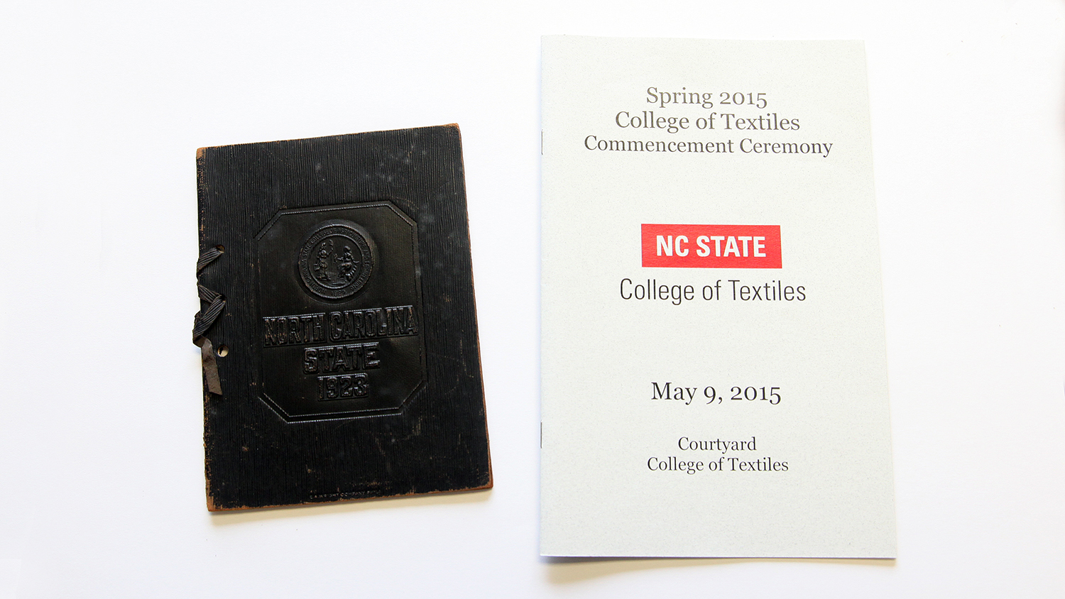 On the left is the 1923 graduation program belonging to Mason Page Thomas. To the right is the 2015 commencement program belonging to his great-granddaughter, Sara Thomas.