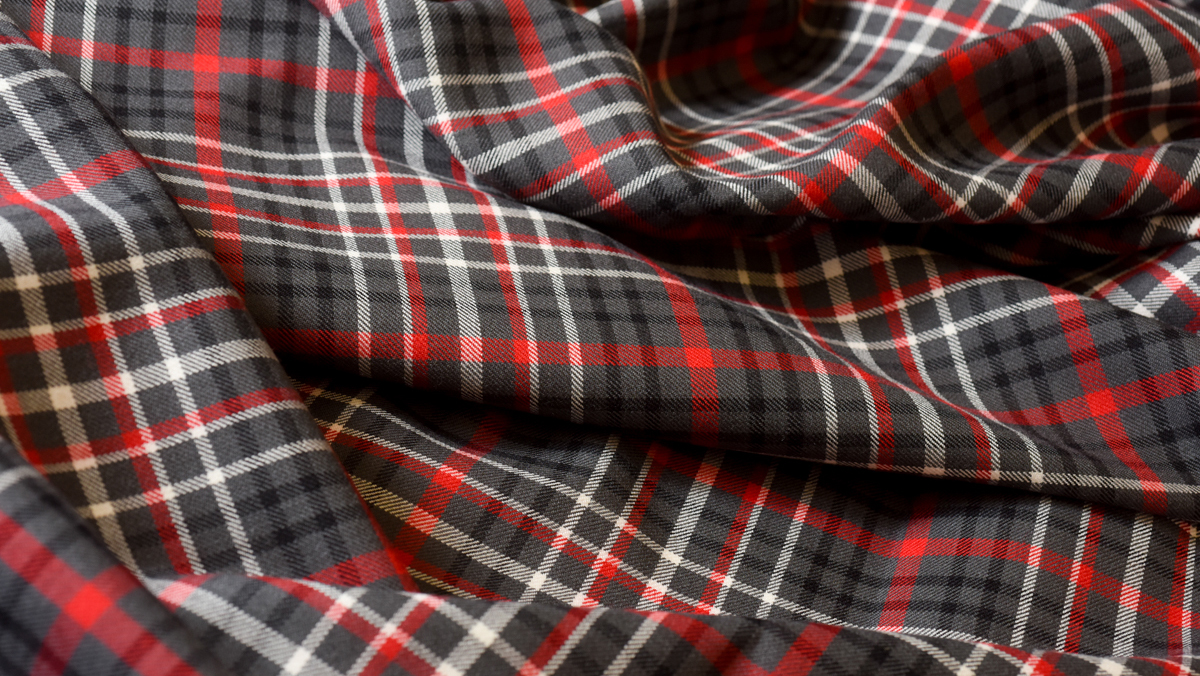 Fabric that is the NC State Pack Plaid, official tartan
