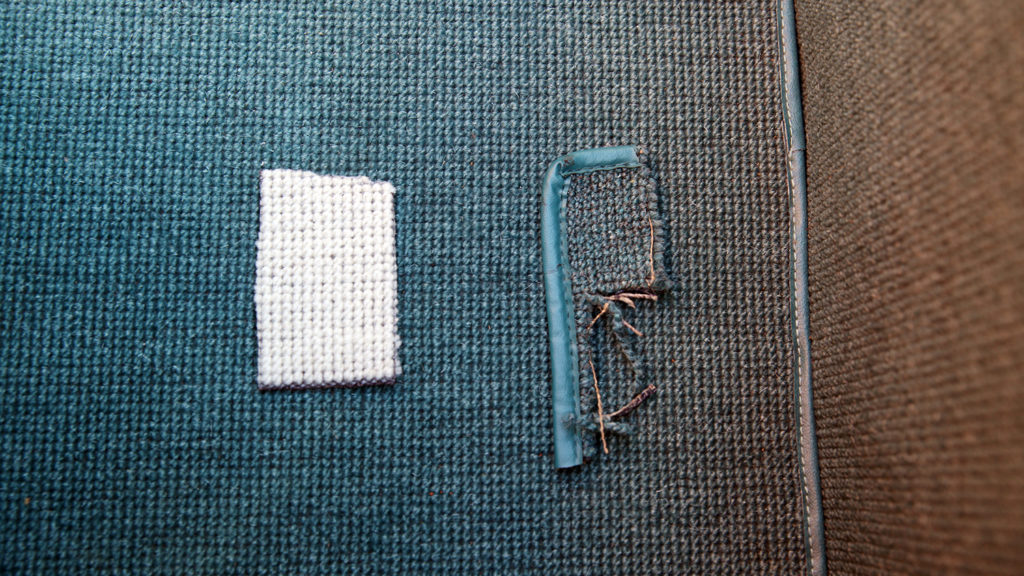 Samples of dyed and undyed carpet for the restoration of Alex Djuric's 1967 250 SL Mercedes