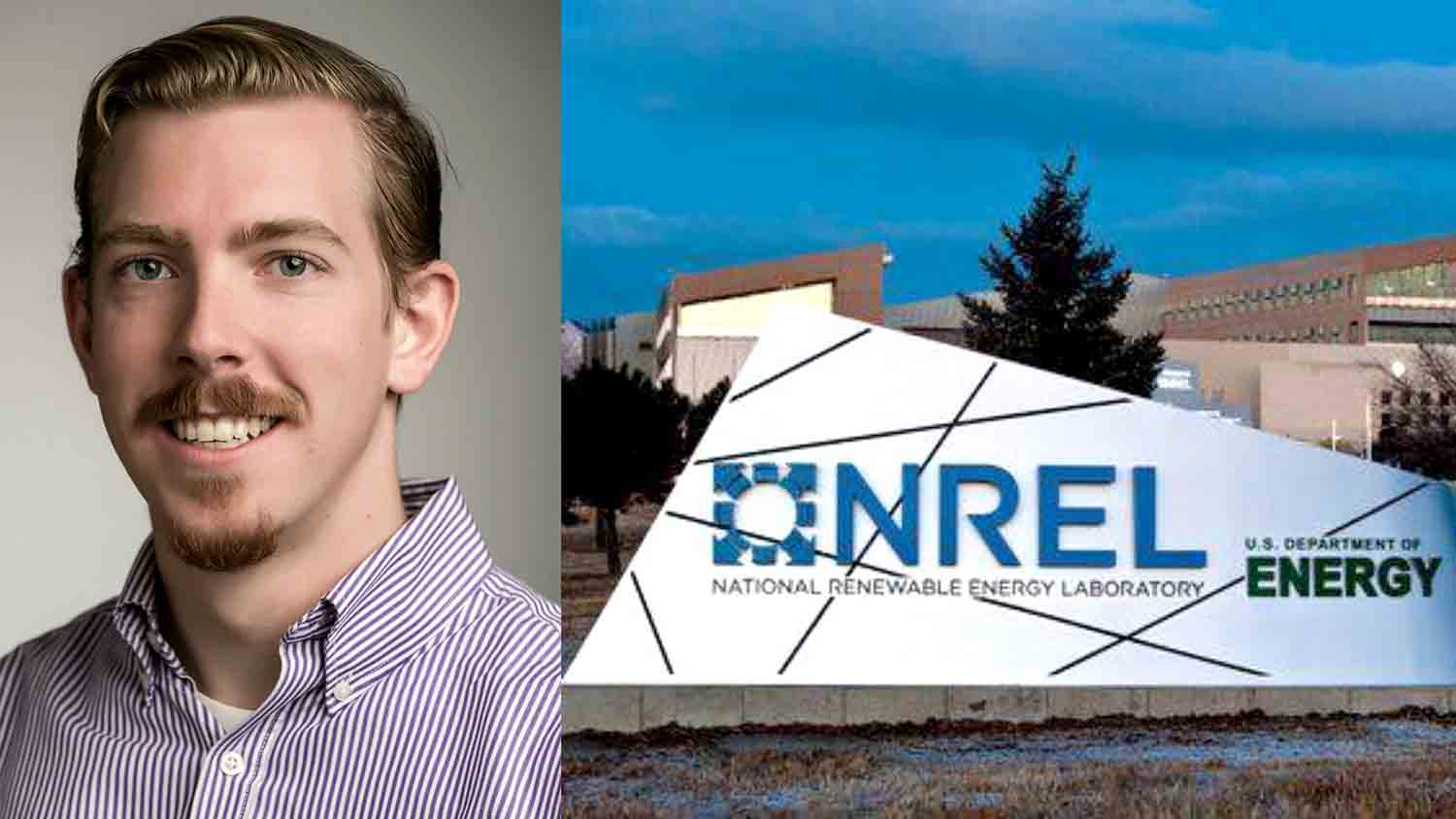 COT alumnus Andrew Parker headshot and NREL sign