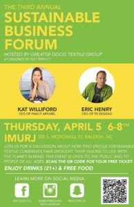 Green and yellow poster for the Greater Good Textile Group's 3rd annual Sustainable Business Forum