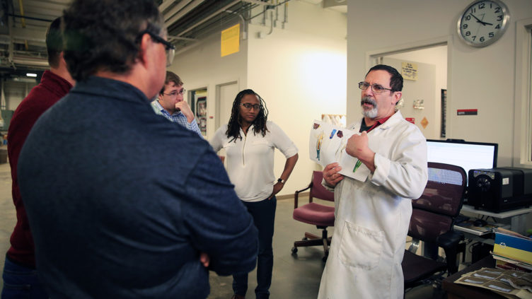 Jeff Krauss leads tour of Dyeing and Finishing Lab
