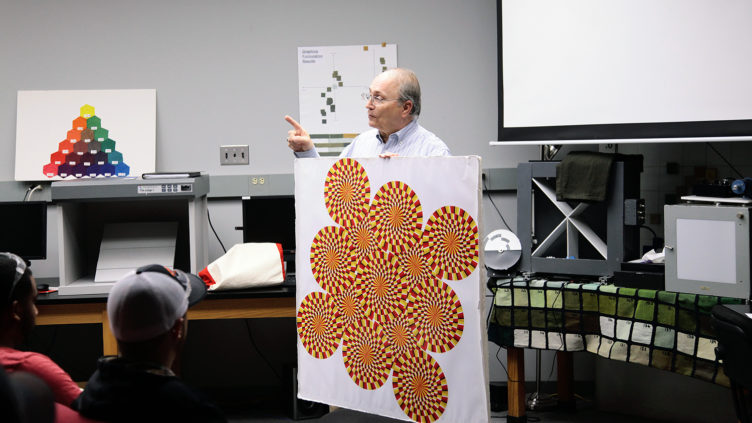 Leon Moser displays optical illusion as part of textiles course