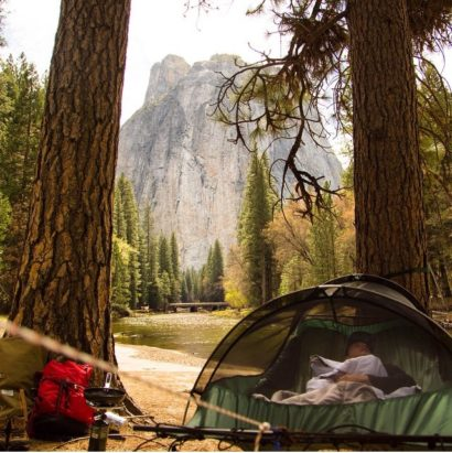 The Blue Ridge Camping Hammock suspended between two trees at Yosemite