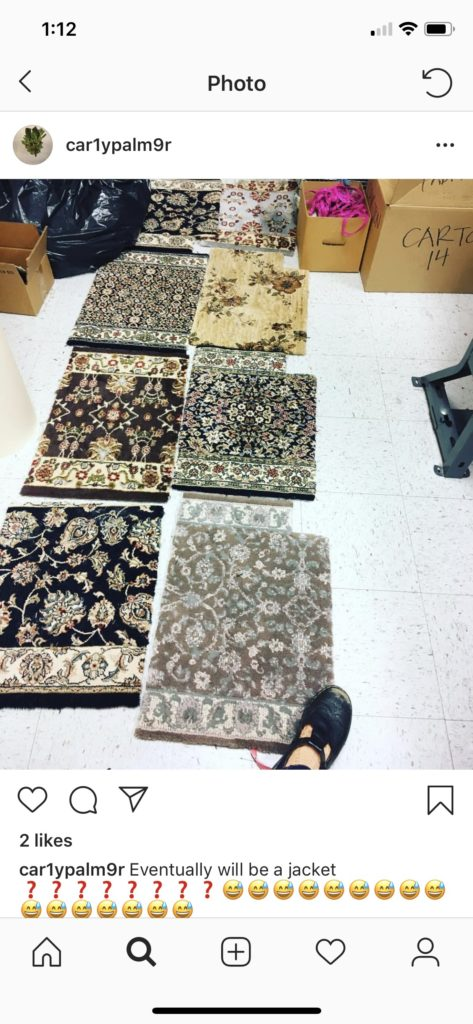 6 carpet samples laid flat on floor