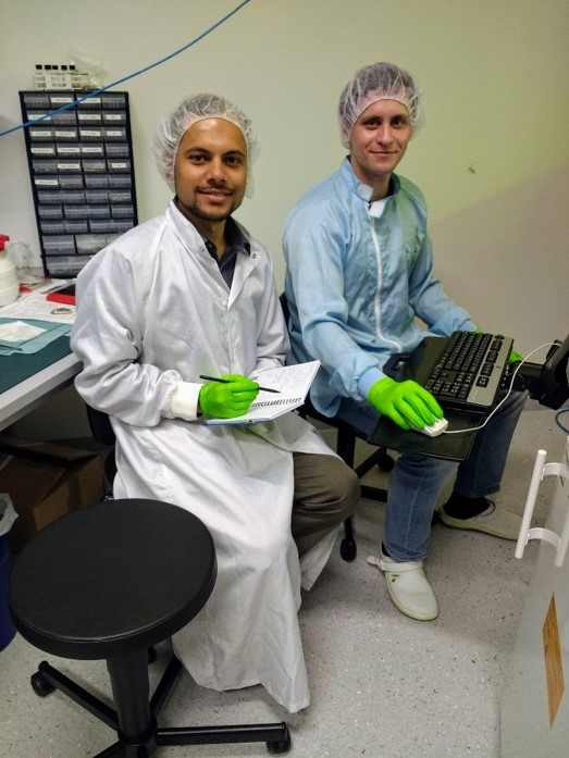 NC State Wilson College of Textiles Ph.D. student Ashish Kapoor Working in Inkjet printing lab in Fraunhofer IOF