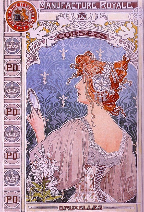 Art Nouveau corset ad, featuring a red-haired woman from behind, looking into a handheld mirror