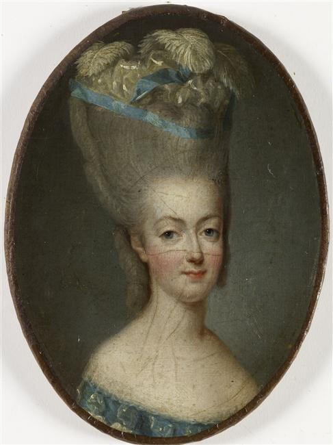 1777 portrait of Marie Antoinette and her infamous pouf hairstyle
