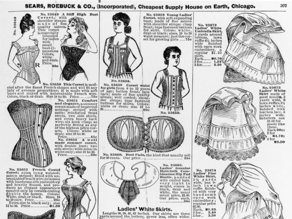 A vintage advertisement for ladies corsets and underskirts by Sears, Roebuck & Co., circa 1897.