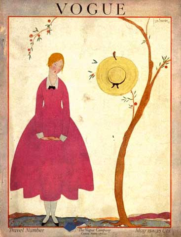 1917 Vogue cover illustration by Georges Lepape, featuring a woman in a red dress with full skirt beside a tree with awide-brimmed hat hanging from a branch