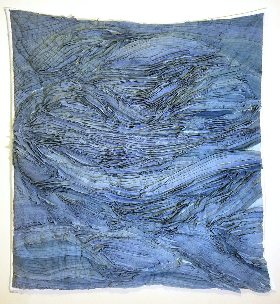 Wall quilt of cotton and silk, dyed with indigo