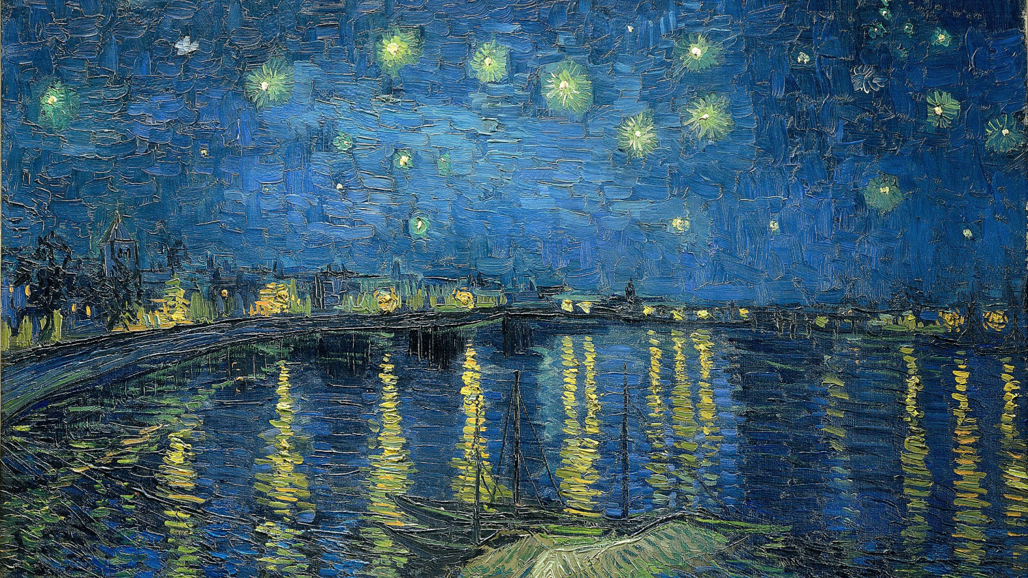 """Detail of Vincent Van Gogh's Starry Night Over the Rhone,"""" a painting of the stars in an evening sky and gas lights along the river bank reflected in the deep blue water"""