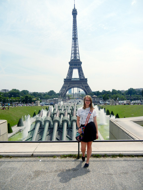 Molly Renaud at the Eiffel Tower in Paris, France