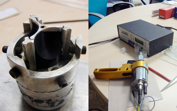 L: Model used to shape heart valves, R: Vibration tool used to cut the material for the valves - using vibrations instead of a knife prevents fraying and loose ends.