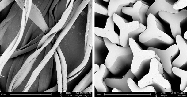 Scanning Electron Microscope Photomicrographs: L - Cotton fibers in a longitudinal view, R - Trilobal nylon fibers in a cross-sectional view.