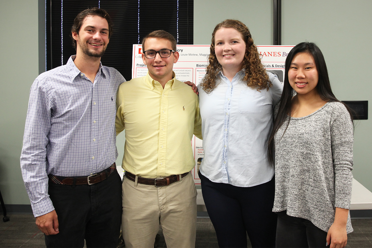 four students in Biomimicry | Sponsor: Hanesbrands project
