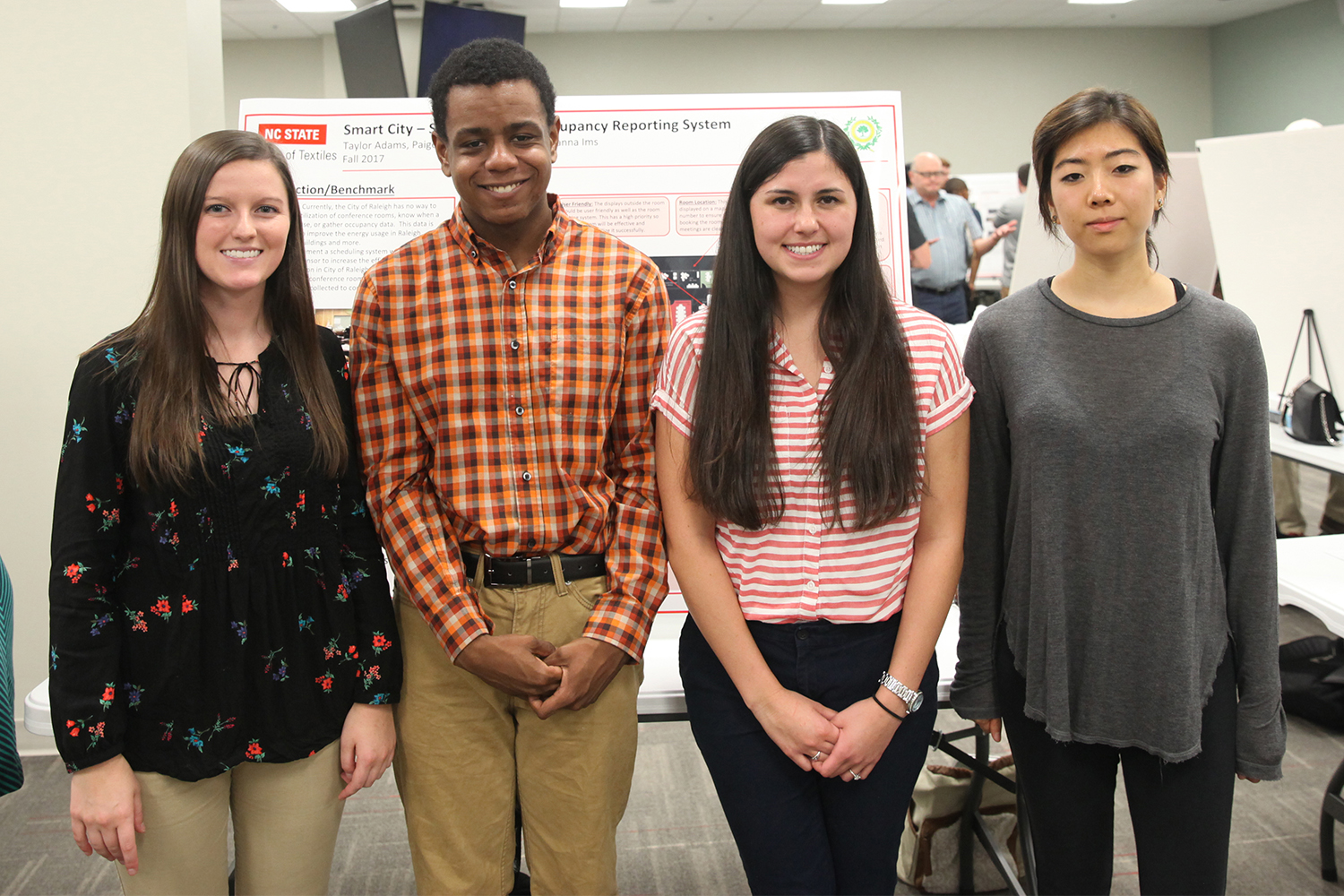 four students in Smart City - Textile-Inspired Occupancy Reporting   Sponsor: City of Raleigh & NC RIoT project