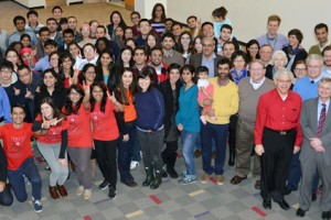 Faculty and Students pose for a picture in the College of Textiles atrium