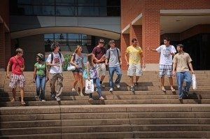 students walking down steps at College of Textiles