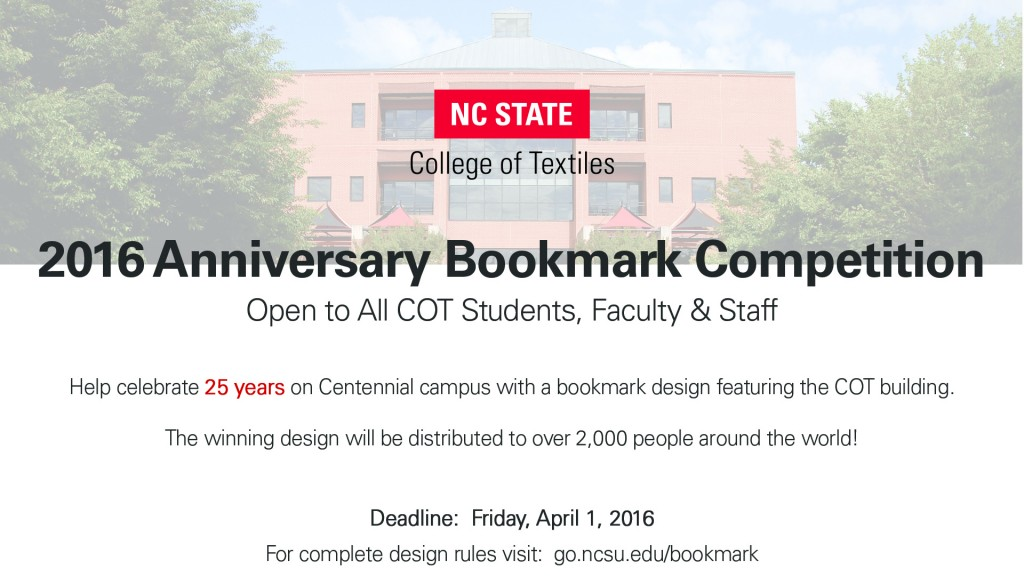 2016 Anniversary Bookmark Competition