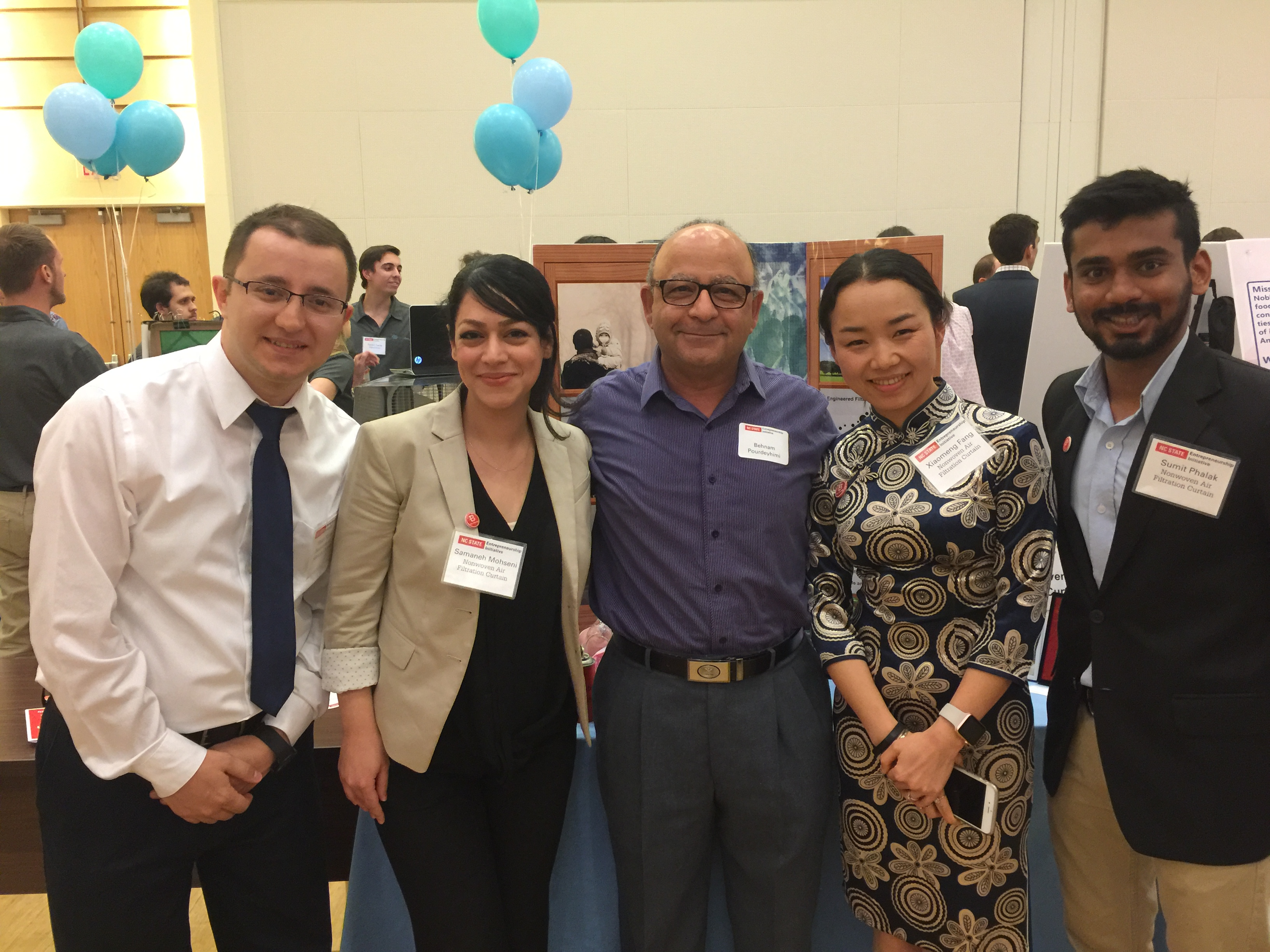 Four College of Textiles doctoral students took first place honors in one of the Lulu eGames competition categories on April 14. The team's novel nonwoven based air-filtration products won the B Corp Champions Challenge portion of the annual startup competition. They are standing with Behnam Pourdeyhimi