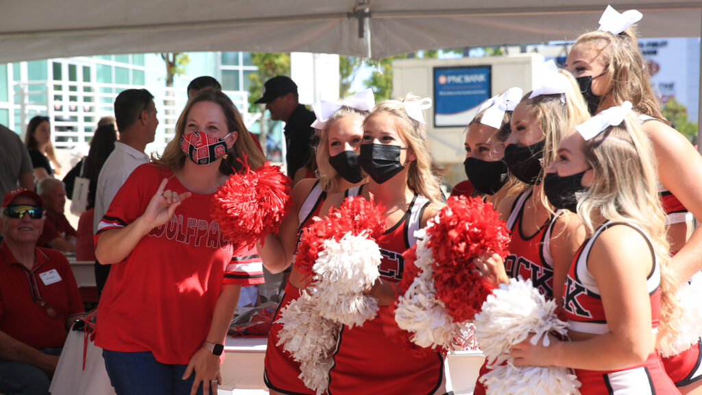 NC State cheer leaders at tailgate event
